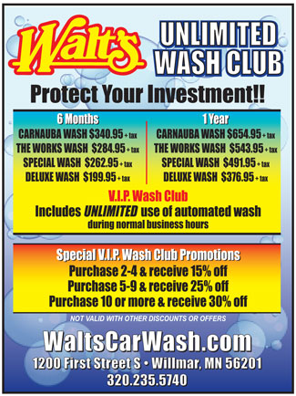 Walts Car Wash Club - Click to enlarge